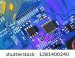 electronic circuit board close... | Shutterstock . vector #1281400240