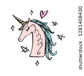 unicorn drawing. textile... | Shutterstock .eps vector #1281408430