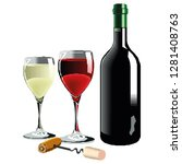 wine bottle and wineglass icon... | Shutterstock .eps vector #1281408763