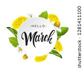 hello march vector lettering in ... | Shutterstock .eps vector #1281411100
