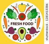 fresh veggies colourful round...   Shutterstock .eps vector #1281413386