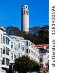 coit tower row houses san... | Shutterstock . vector #1281420196