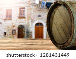 wooden barrel as a table with a ... | Shutterstock . vector #1281431449