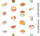 various food images set.... | Shutterstock .eps vector #1281435130