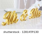 mr   mrs sign. sweetheart table ... | Shutterstock . vector #1281459130