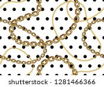 golden chains on polka dots ... | Shutterstock .eps vector #1281466366
