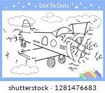 dot to dot drawing worksheets.... | Shutterstock .eps vector #1281476683