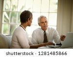 business colleagues meeting to... | Shutterstock . vector #1281485866