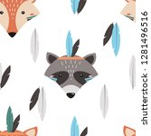 seamless pattern with fox and... | Shutterstock .eps vector #1281496516