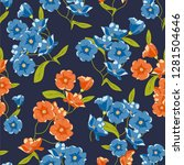 flower pattern with hand drawn... | Shutterstock .eps vector #1281504646