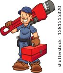 cartoon plumber with oversized... | Shutterstock .eps vector #1281515320