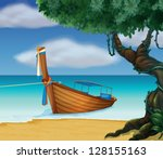Illustration Of A Wooden Boat...