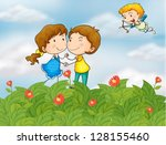 illustration of a couple in the ... | Shutterstock .eps vector #128155460