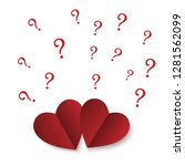 red paper hearts with question... | Shutterstock .eps vector #1281562099