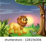 Illustration Of A Lion Watchin...