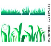 set of blades of grass on a... | Shutterstock .eps vector #1281591856