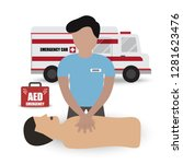 rescue paramedic first aids... | Shutterstock .eps vector #1281623476