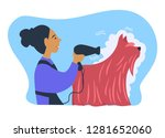 woman owner of pet caring for... | Shutterstock .eps vector #1281652060