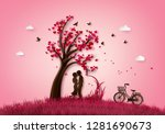 Stock vector illustration of love and valentine day two enamored under a love tree paper d from digital craft 1281690673