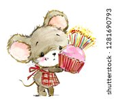 cartoon mouse watercolor... | Shutterstock . vector #1281690793