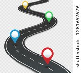 highway roadmap with pins. car...   Shutterstock . vector #1281692629