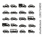 icons of black cars and trucks | Shutterstock . vector #1281714850
