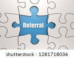 referral word on jigsaw puzzle  ... | Shutterstock . vector #1281718036