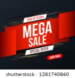 abstract mega sale banner with... | Shutterstock .eps vector #1281740860