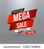 abstract mega sale banner with... | Shutterstock .eps vector #1281740863
