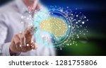 man touching an artificial... | Shutterstock . vector #1281755806
