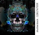 colored skull isolated on white ... | Shutterstock . vector #1281767059