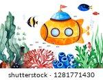 underwater creatures pre made... | Shutterstock . vector #1281771430