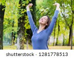 woman feeling peaceful and... | Shutterstock . vector #1281778513