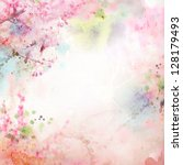 scenic watercolor background ... | Shutterstock . vector #128179493