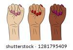 women hands with fist raised up....   Shutterstock .eps vector #1281795409