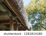 reed roof of an old wooden... | Shutterstock . vector #1281814180