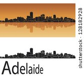 adelaide skyline in orange... | Shutterstock .eps vector #128182928