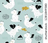 childish seamless pattern with... | Shutterstock .eps vector #1281849580