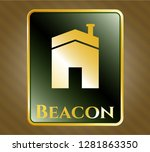 gold emblem with house icon... | Shutterstock .eps vector #1281863350