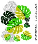 vector tropical pattern with... | Shutterstock .eps vector #1281876226