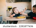 brother and younger sister in... | Shutterstock . vector #1281877636