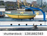 life boat hanging on a... | Shutterstock . vector #1281882583