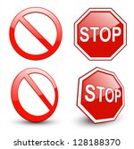 stop sign  forbidden circle... | Shutterstock .eps vector #128188370