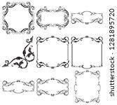 vector set vintage border frame ...   Shutterstock .eps vector #1281895720