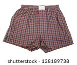 plaid boxer shorts underwear | Shutterstock . vector #128189738
