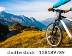 mountain bike wheel and sommer... | Shutterstock . vector #128189789