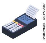 cash register  isometric vector ... | Shutterstock .eps vector #1281929080