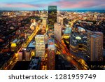 an aerial night view of boston... | Shutterstock . vector #1281959749