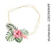 watercolor tropic geometric... | Shutterstock . vector #1281969649
