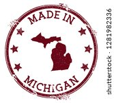 made in michigan stamp. grunge... | Shutterstock .eps vector #1281982336